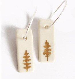 Dirt Light Shadow Gold Tree Porcelain Hoop Earrings
