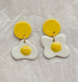Fried Egg Ceramic Earrings