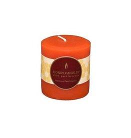"Honey Candles Honey Candles 3"" Round Pillar- Tangerine"