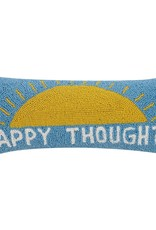 Wool Hooked Pillow - Happy Thoughts