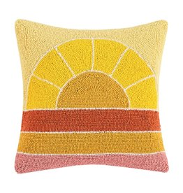 Wool Hooked Pillow - Retro Sunset