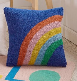 Wool Hooked Pillow - Rainbow Square