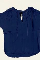 split neck short sleeve blouse