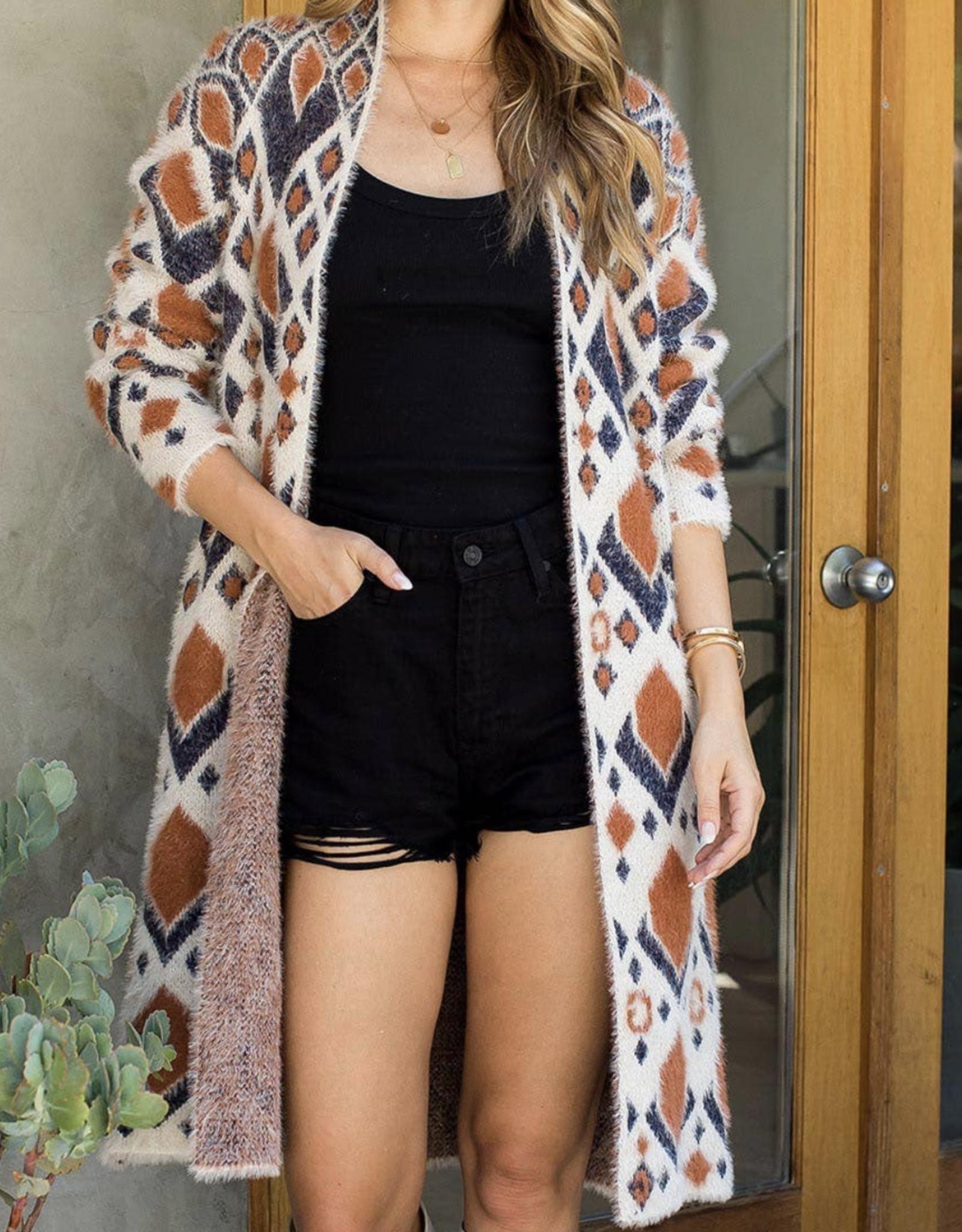 sweet lovely by Jen SL Aztec long soft cardigan