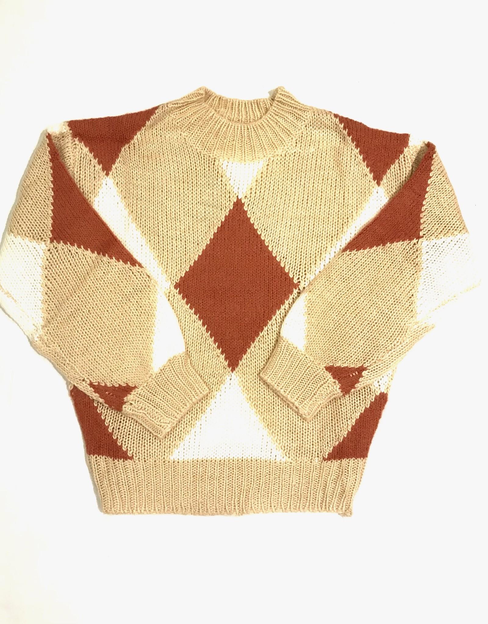 lush argyle mockneck sweater LT16099
