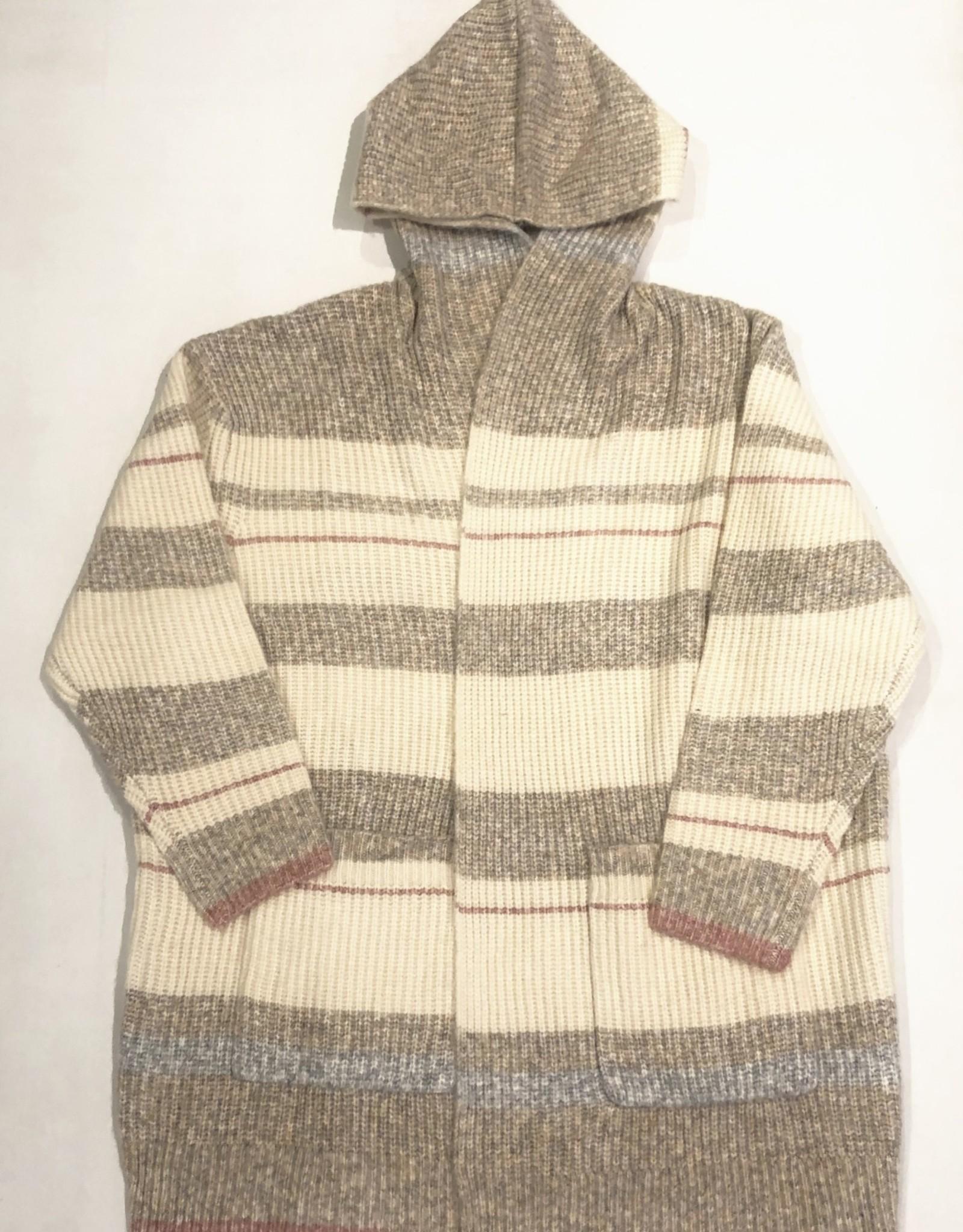 LUSH Striped hooded cardi LT16112