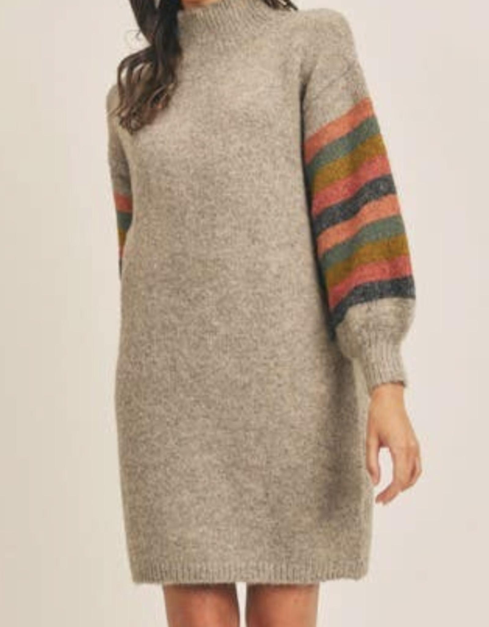 Lush striped sleeve dress  LD44070