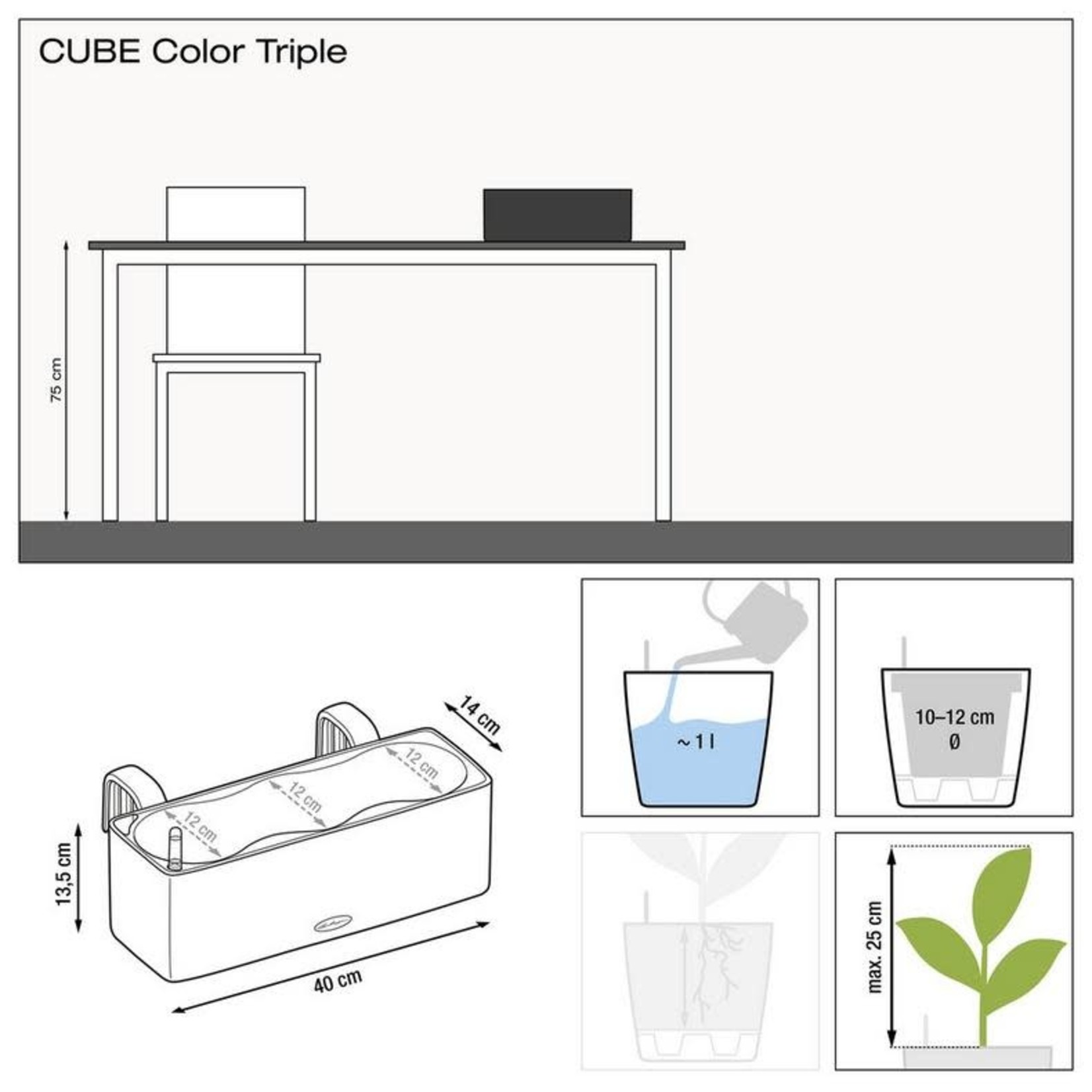 Lechuza Canada CUBE Color Triple