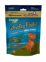 Emerald Pet Emerald Pet Feline Wholly Fish Tuna + Digestive Health Cat Treat 3 oz