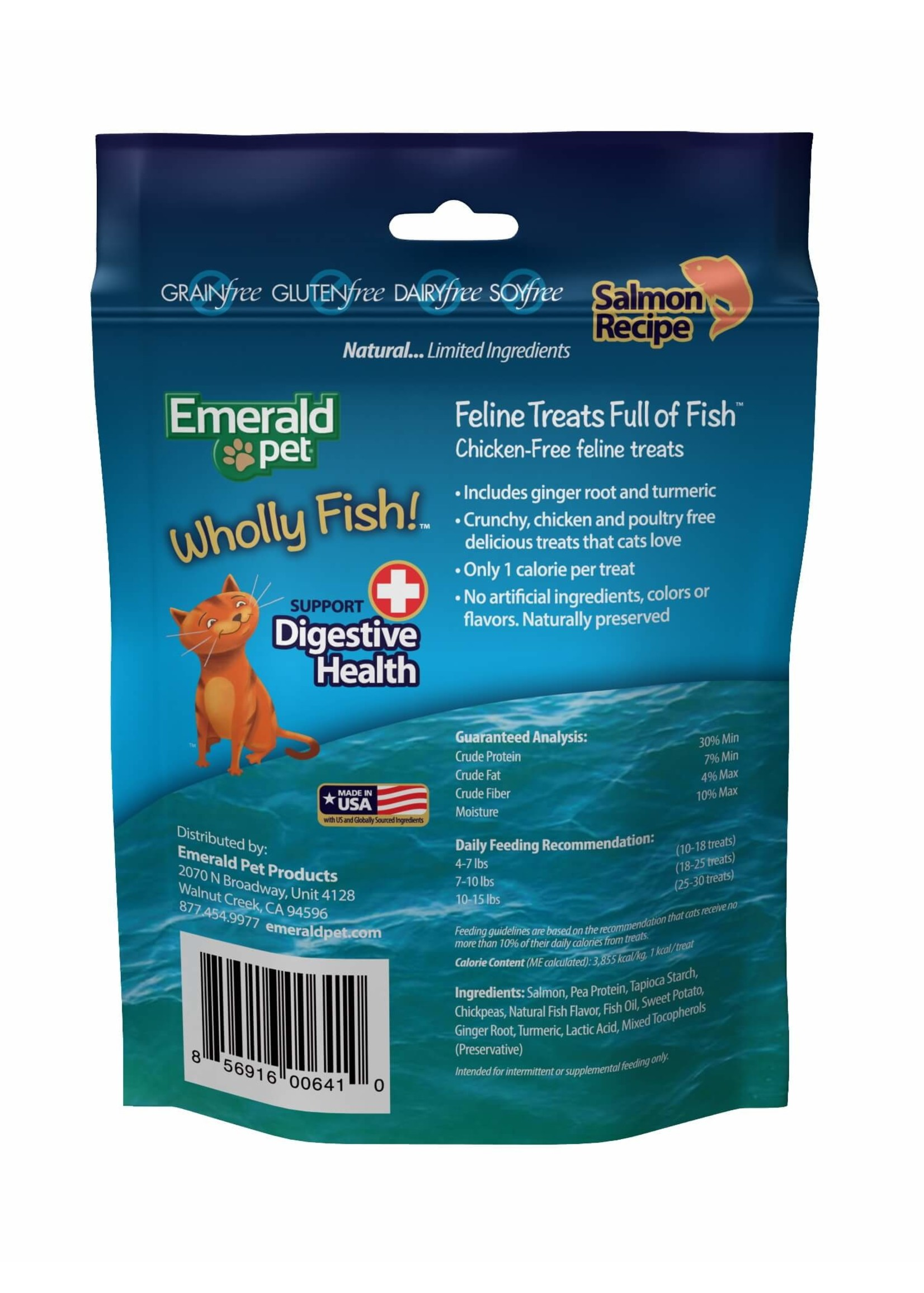 Emerald Pet Emerald Pet Feline Wholly Fish Salmon + Digestive Health Cat Treat
