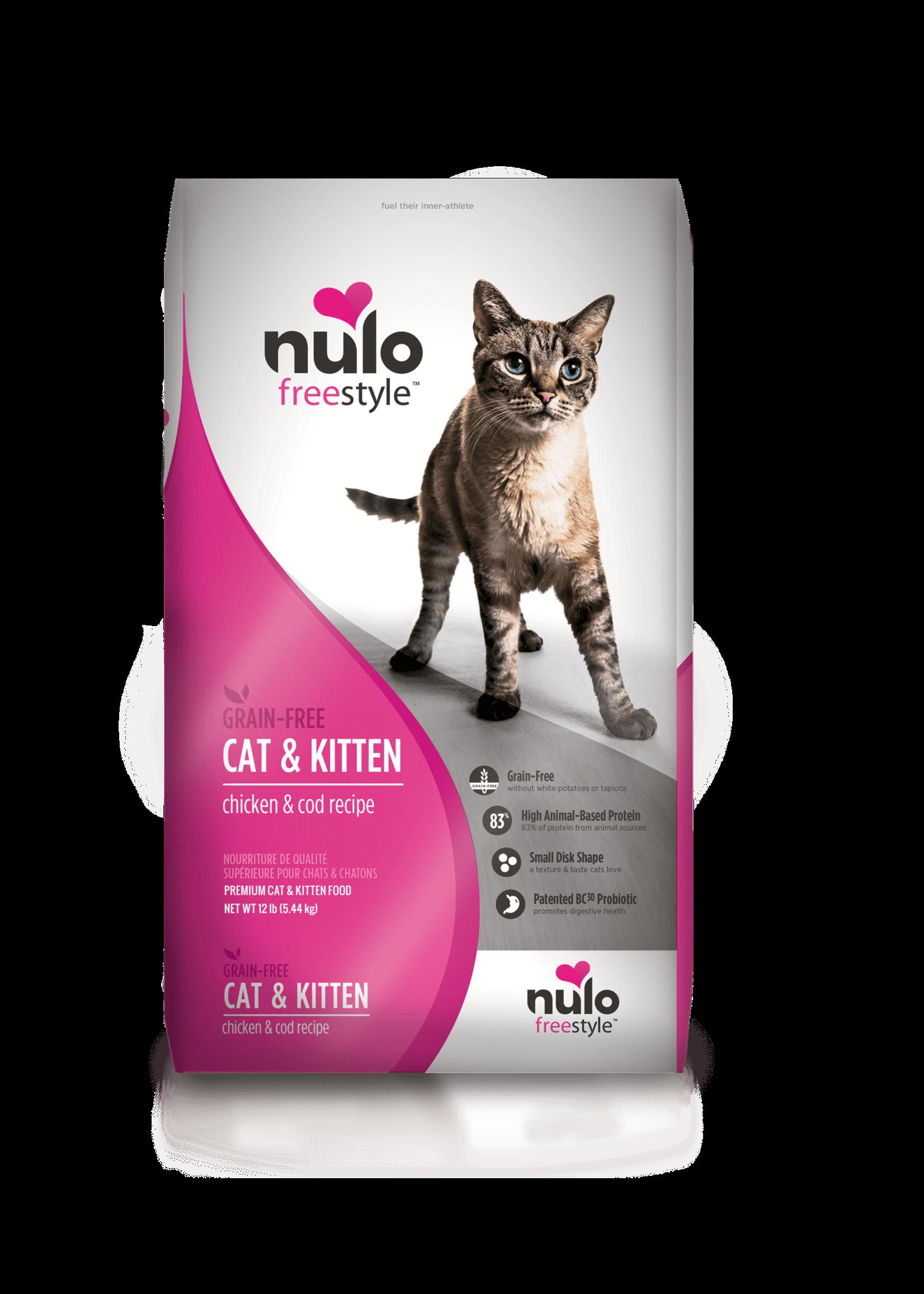 Nulo Nulo FreeStyle Grain Free Cat & Kitten Food Chicken & Cod, 12lb Bag