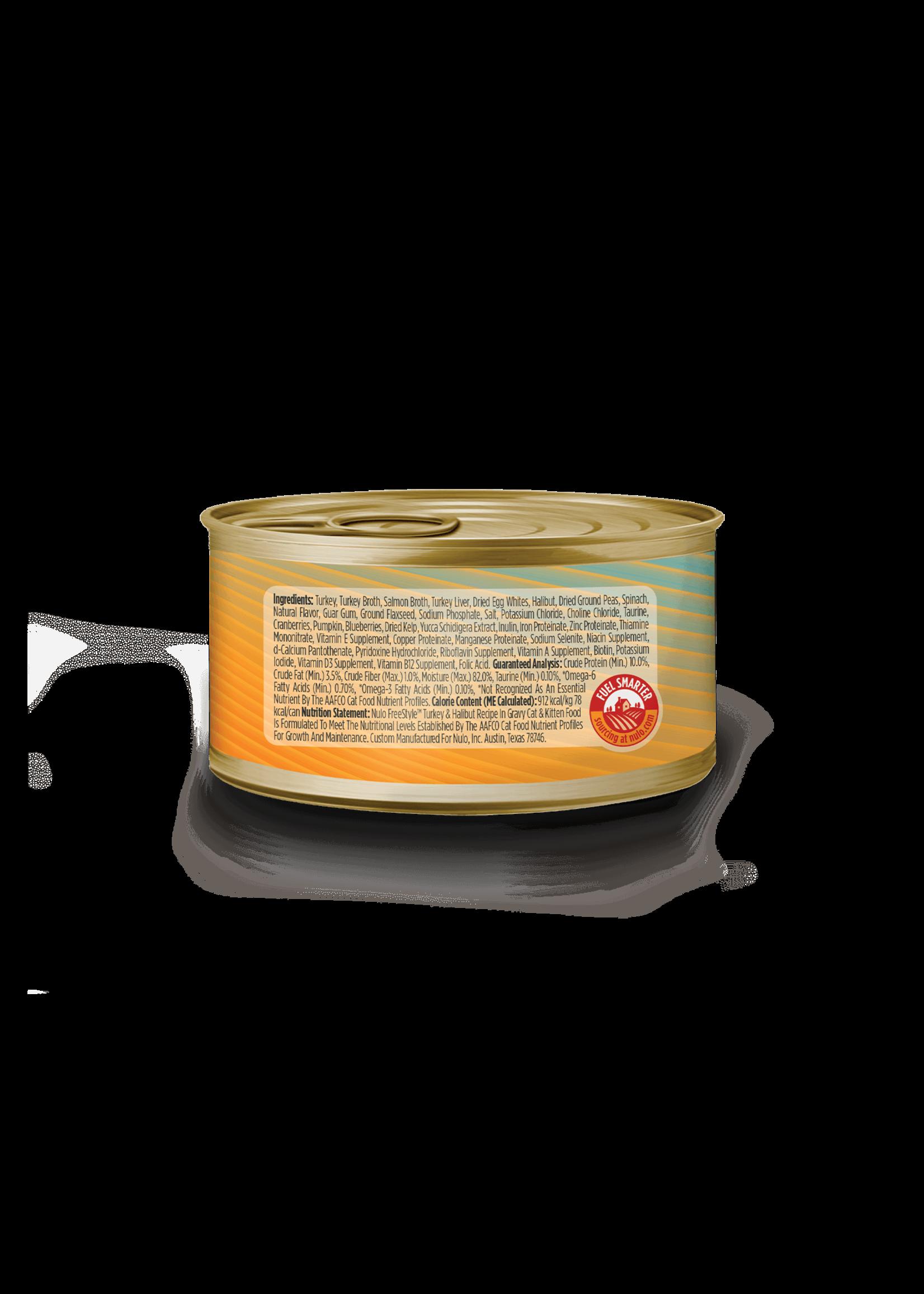 Nulo Nulo FreeStyle Grain Free Cat Food Shredded Turkey & Halibut in Gravy, 3oz Can