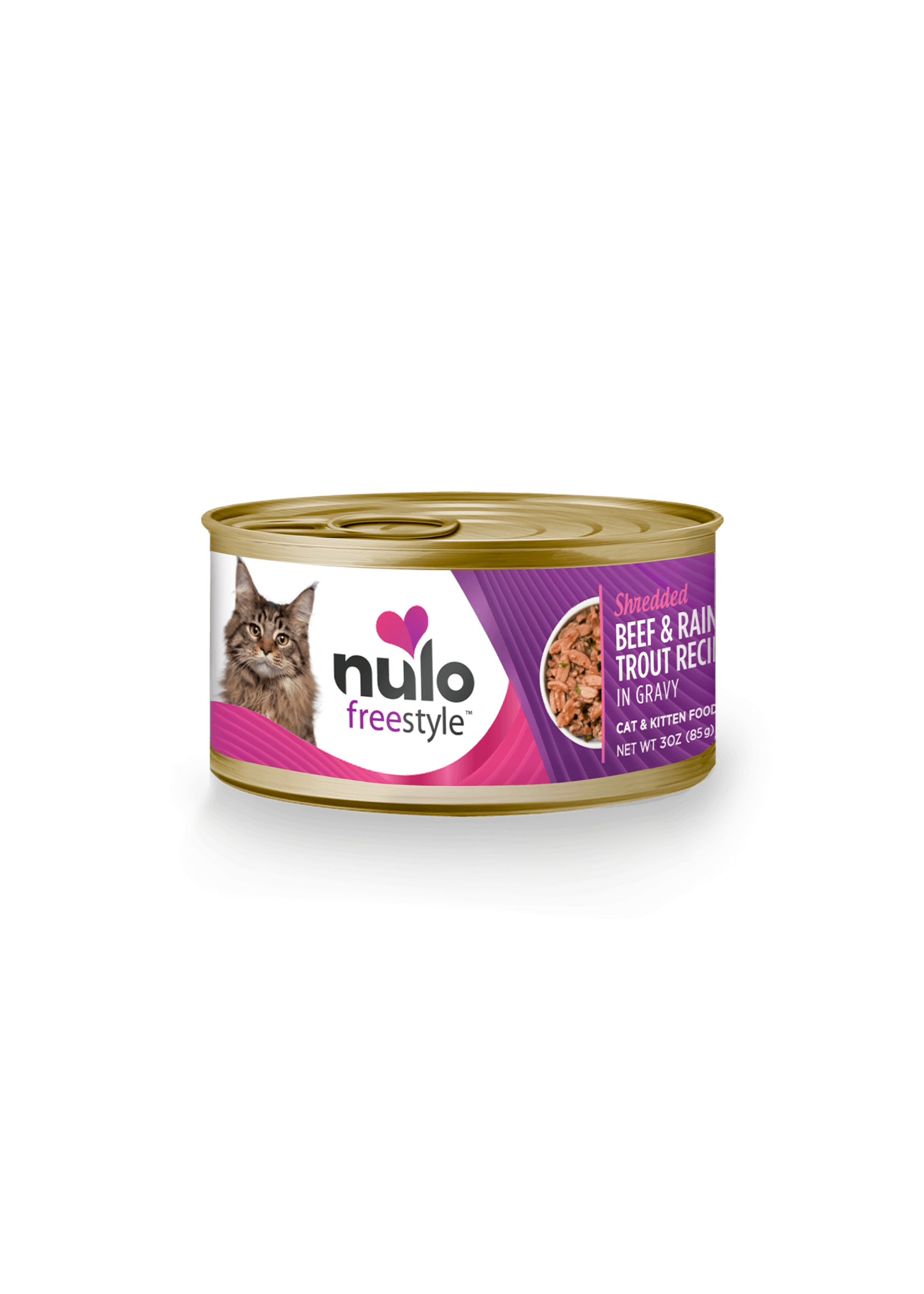 Nulo Nulo FreeStyle Grain Free Cat Food Shredded Beef & Rainbow Trout in Gravy, 3oz Can