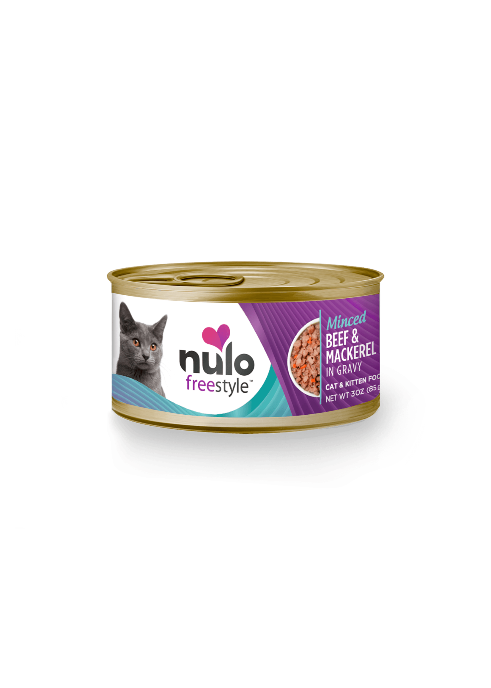 Nulo Nulo FreeStyle Grain Free Cat Food Minced Beef & Mackerel in Gravy, 3oz Can