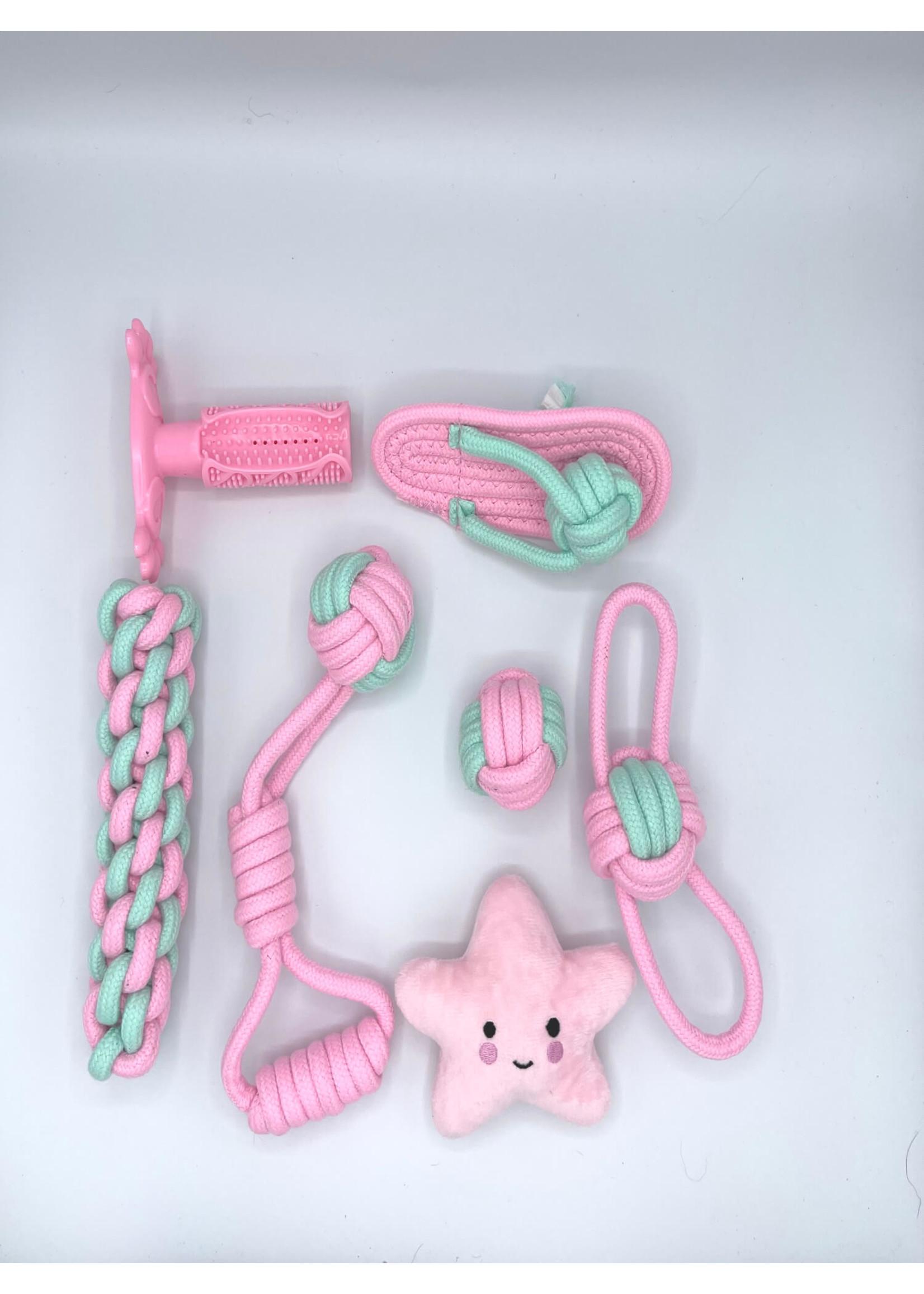 Dog Rope Toys, 7pc Set, Pink