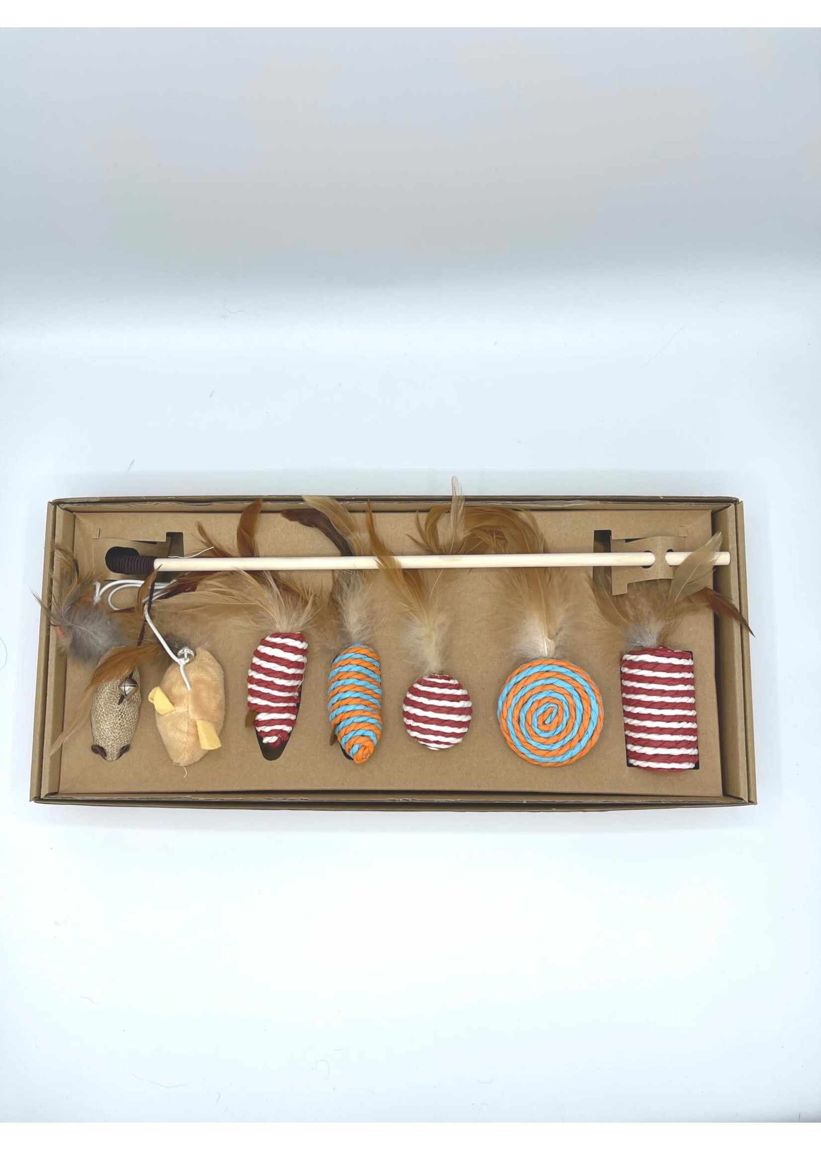 Cat Toys 7pc Set Sisal and Feathers