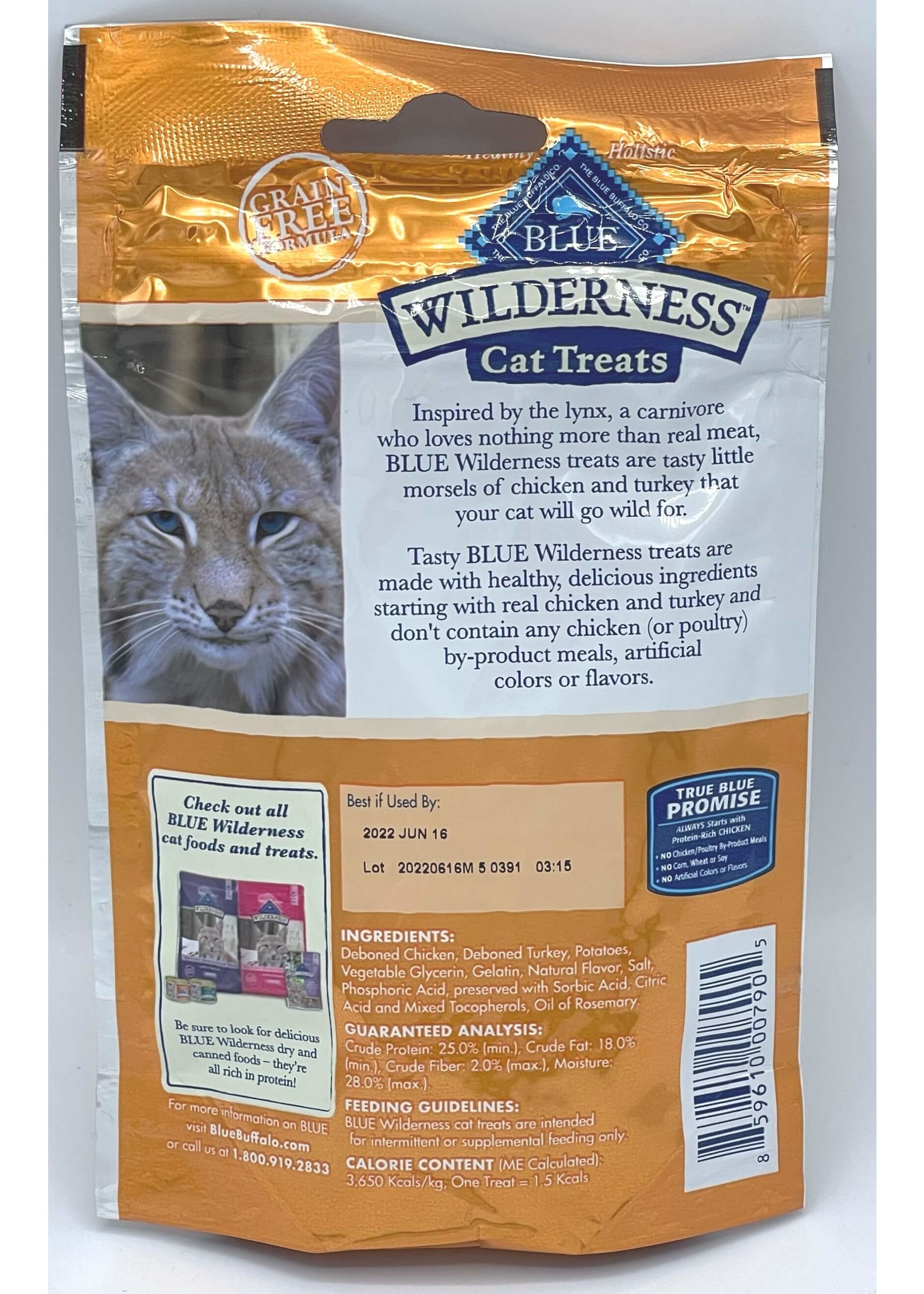 Blue Buffalo Blue Wilderness GF Chicken & Turkey Soft-Moist Cat Treats