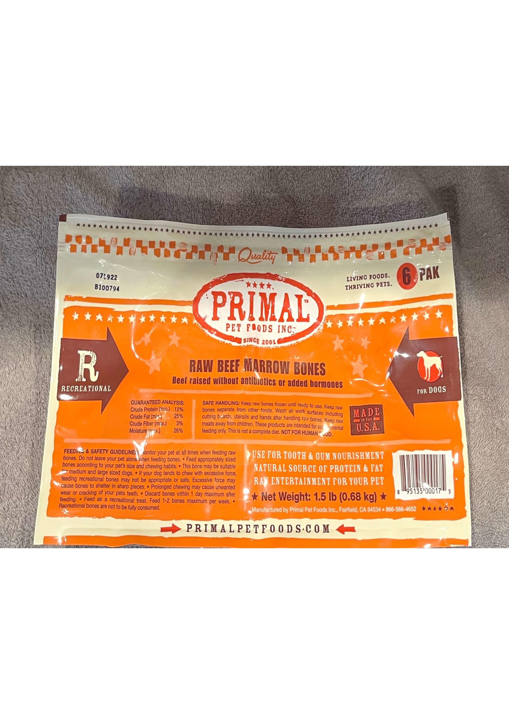 Primal Pet Foods Primal 2in Frozen Beef Bones, 6 Pack