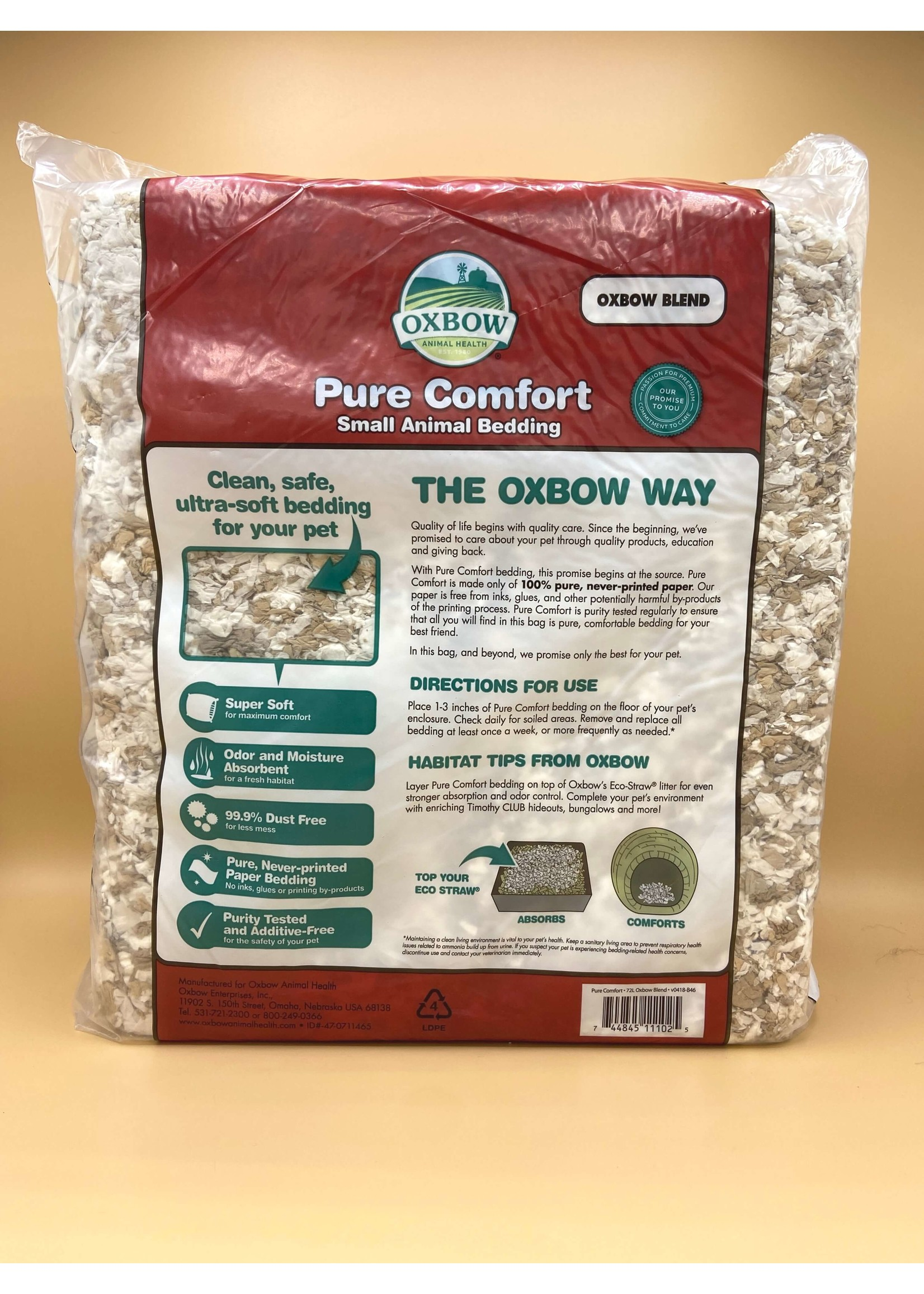 Oxbow Oxbow Pure Comfort Small Animal Bedding, 72L Oxbow Blend