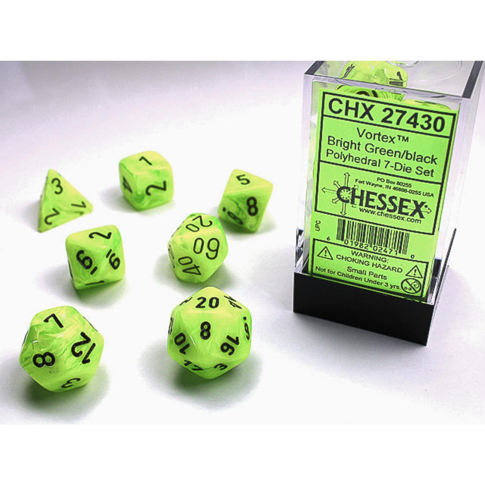 Chessex 27430 Vortex 7pc Bright Green/Black RPG Dice