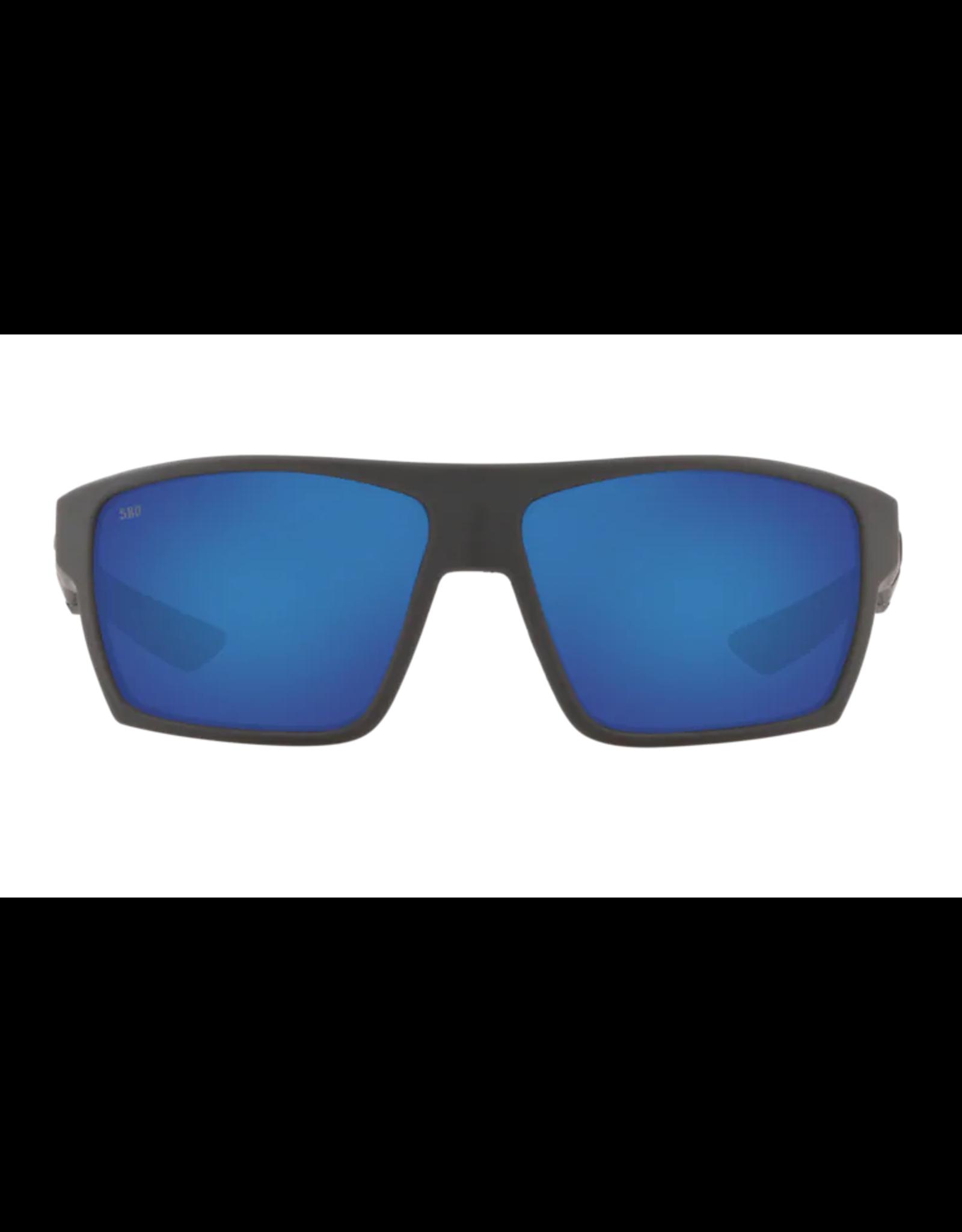 COSTA DEL MAR BLOKE 124 MATTE BLACK MATTE GRAY W/ BLUE MIRROR 580G