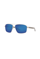COSTA DEL MAR FLAGLER- SHINY SILVER W/ BLUE MIRROR
