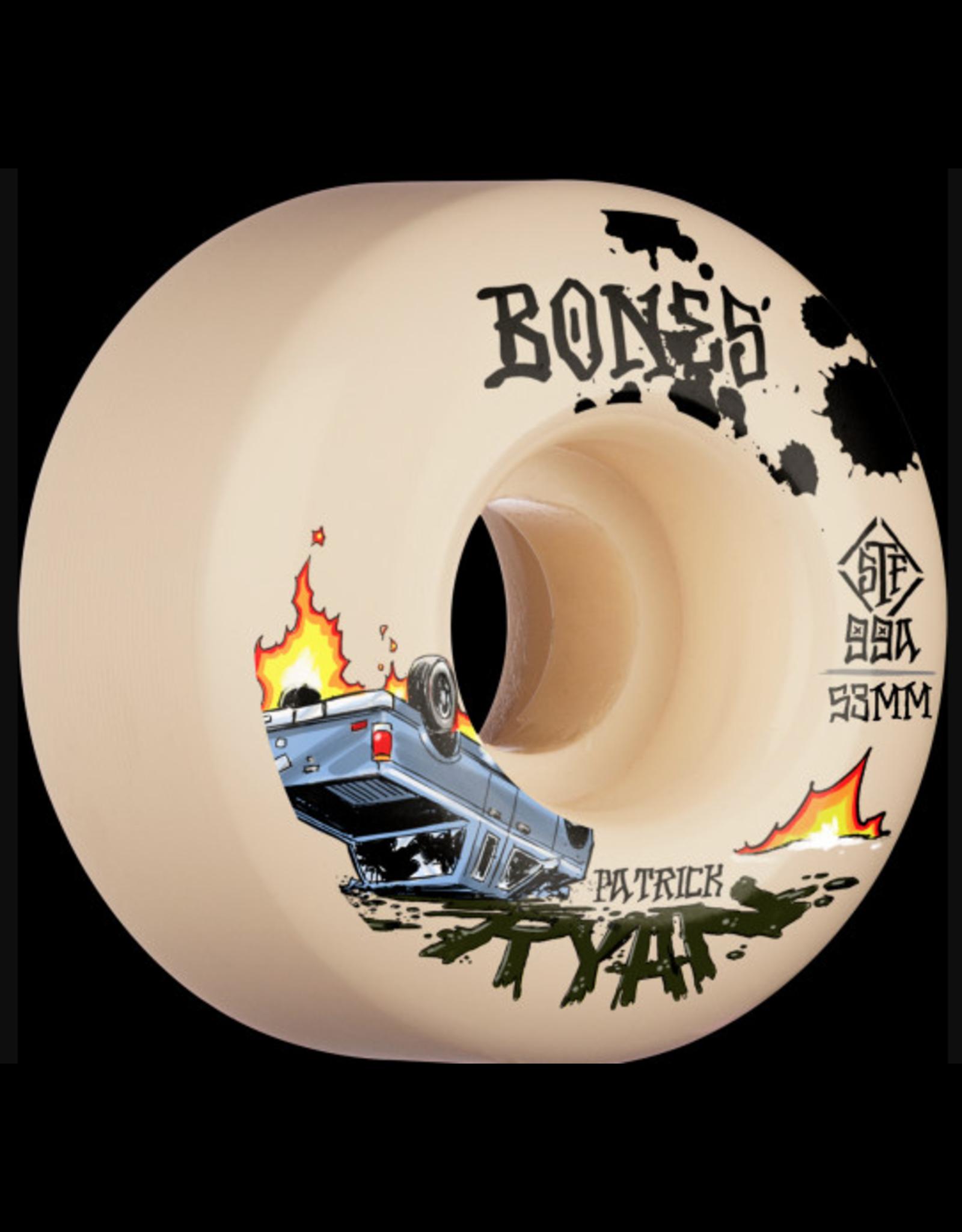 BONES BONES PRO SERIES 99A STREET TECH FORMULA, RYAN CRASH AND BURN 53MM V4 WIDE (SET OF 4 WHEELS)