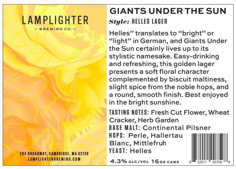 USA Lamplighter Giants Under The Sun Helles Lager 4pk
