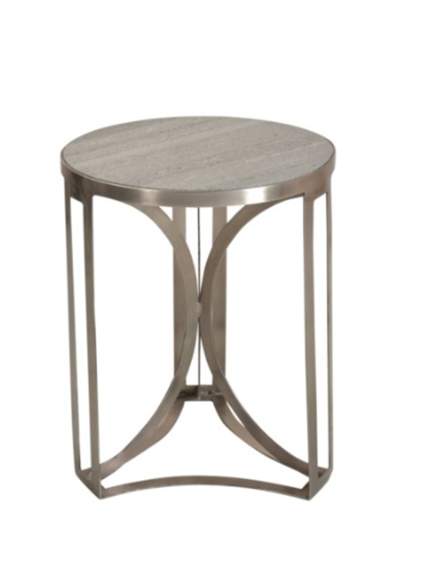 Crestview Antique Nickel and Grey Marble Accent Table