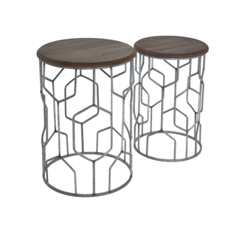 Crestview Set of Tables Geometric Metal and Rustic Wood