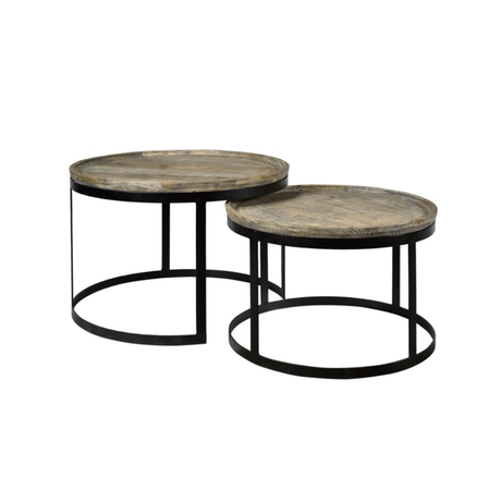Crestview Wood and Metal Round Cocktail Tables