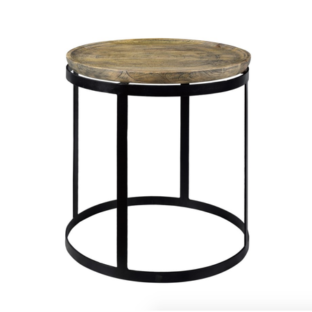 Crestview Wood and Metal Round End Table