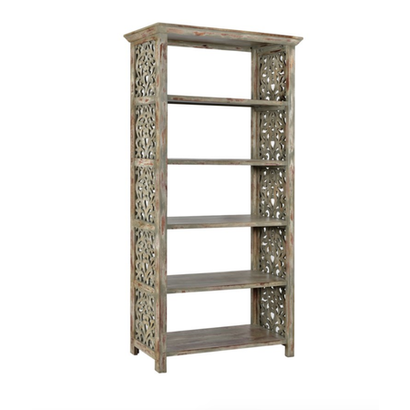Crestview Wood Carved Side Panel Bookcase