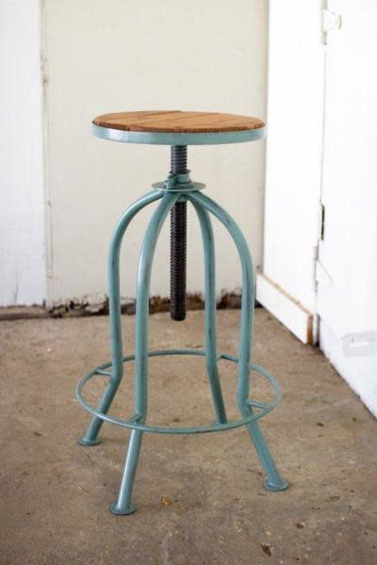 Kalalou Adjust Bar Stool W Recycled Wood - Industrial Blue Finish