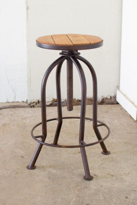 Kalalou Adjustable Bar Stool With Recycled Wood - Rustic Finish