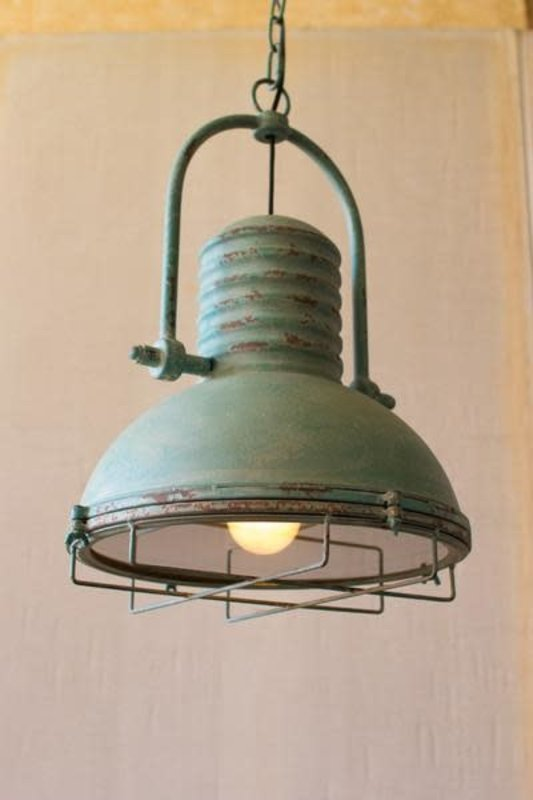 Kalalou Antique Turquoise Pendant Light With Glass And Wire Cage
