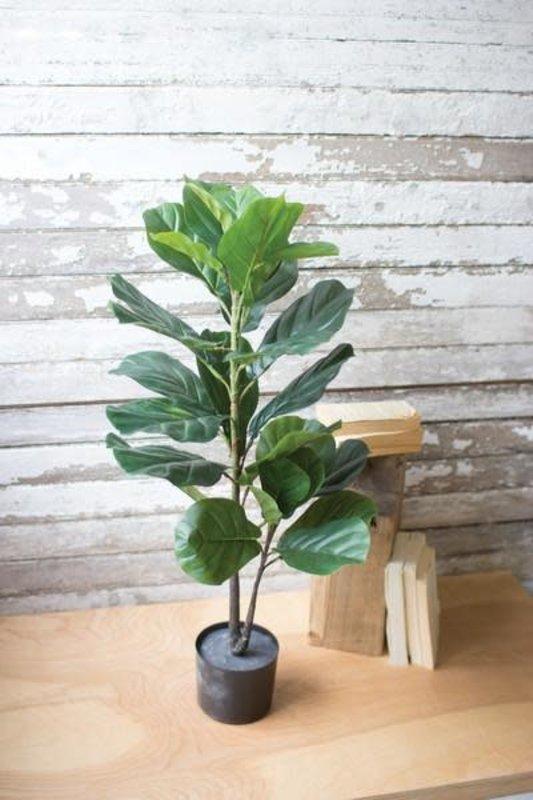 Kalalou Artificial Fiddle Leaf Fig In A Pot