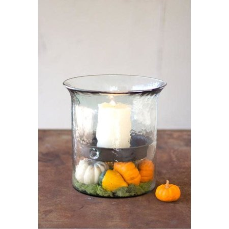 Kalalou Giant Glass Candle Cylinder With Rustic Insert