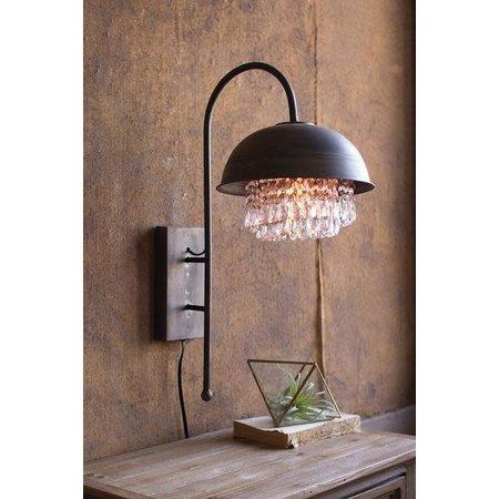 Kalalou Metal Dome Wall Lamp With Hanging Gems