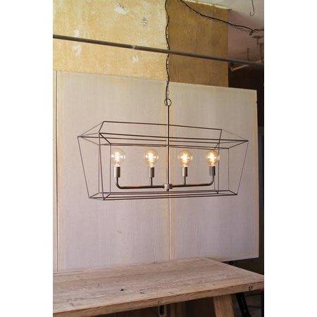 Kalalou Rectangle Iron Bar Pendant Light