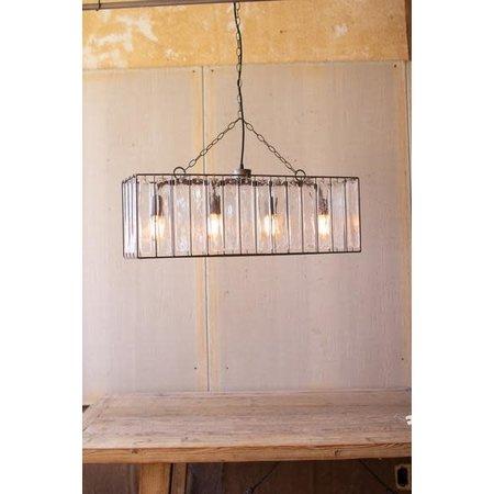 Kalalou Rectangle Pendant Light With Glass Chimes