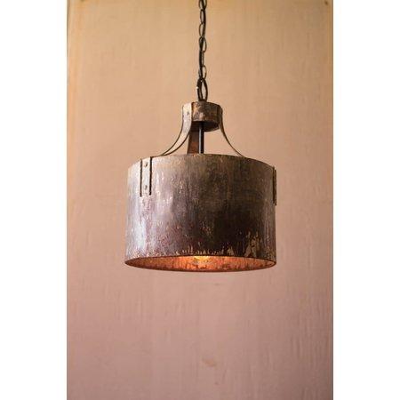 Kalalou Rustic Metal Cylinder Pendant Light