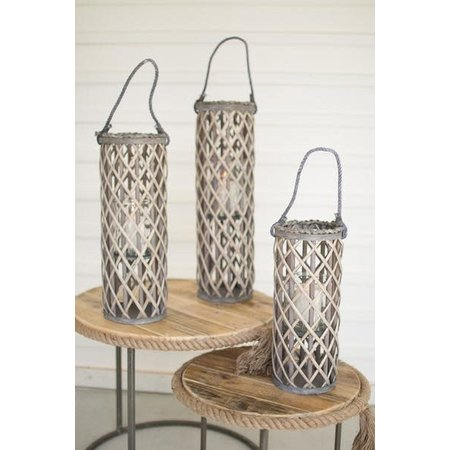 Kalalou Set Of Three Willow Lanterns With Glass - Grey