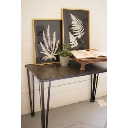Kalalou Set Of Two Black And White Fern Prints Under Glass