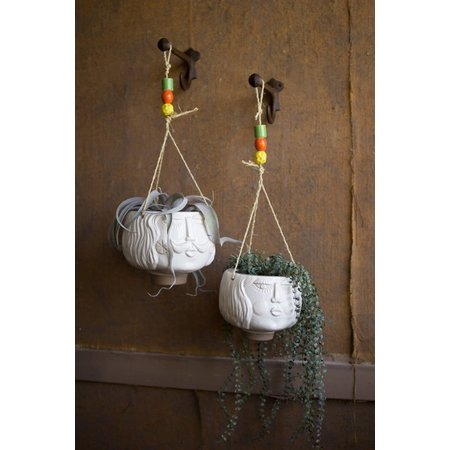 Kalalou Set Of Two Ceramic Hanging Face Vases - White