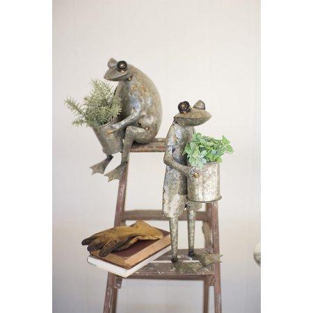Kalalou Set Of Two Galvanized Frog Planters