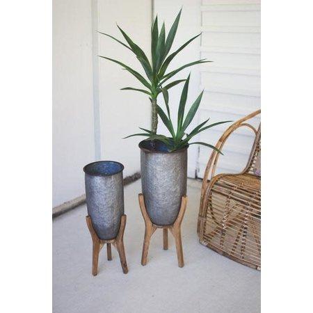 Kalalou Set Of Two Galvanized Urns On Wood Bases #1