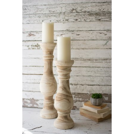 Kalalou Set Of Two Hand Carved Wooden Candle Stands