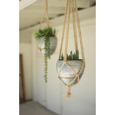 Kalalou Set Of Two Hanging Galvanized Planters With Woven Jute Rope