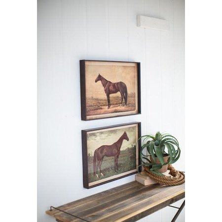 Kalalou Set Of Two Horse Prints Under Glass